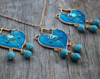 Simple Jasmine Necklace and/or Earrings, 2019 Aladdin Live Action Movie Reproduction, Indian Princess Blue Teal Gold, Jasmin Cosplay Costume