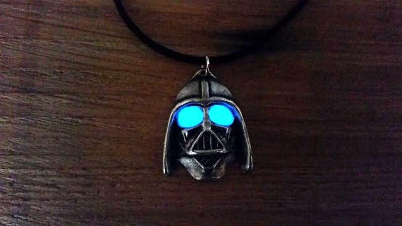 Glow in the Dark Helmet Wars Necklace Glowing Necklace image 0