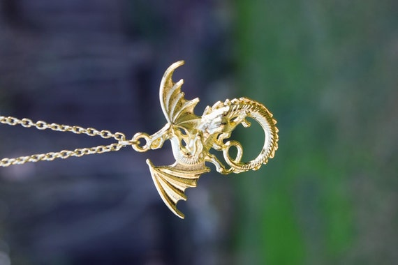 Gold Dragon Necklace, Descendants Mal Costume Necklace, Large Gold Dragon, Dragon Cosplay, LARP, Disney Fan, Mal Dragon Necklace