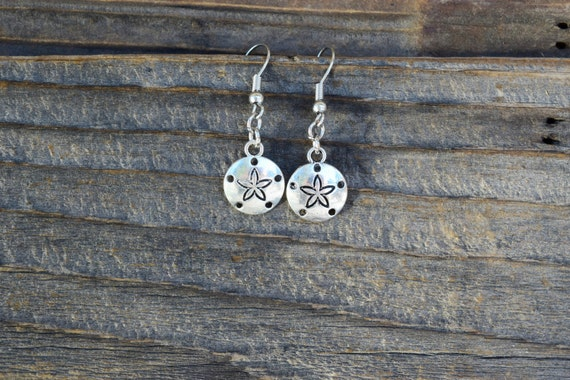 SALE Dainty Sand Dollar Earrings, Tibetan Silver Sea Star Earrings, Mermaid Earrings, Nautical Earrings, Beach Wedding / Vacation Sea Cookie