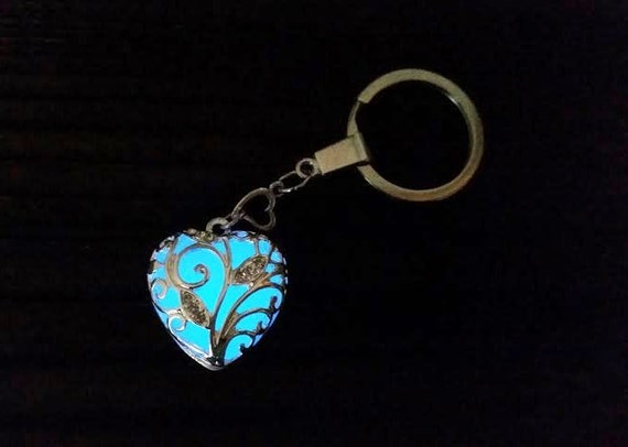Glowing Heart Keychain, Valentines Gift for Her, Aqua Glow in the Dark Heart Key Chain, Glowing Blue Heart Key Ring, Mother's Day Gift