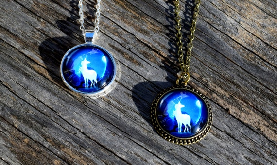Unicorn Necklace, Gift for Little Girl Necklace, The Last Unicorn, Unicorn with Moon, Unicorn Choker Necklace, Silver or Bronze Finish