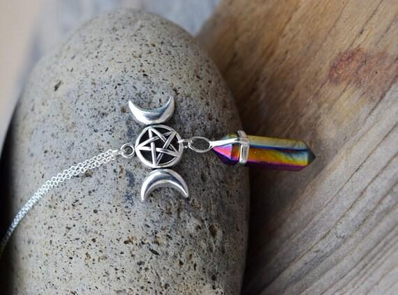 Triple Moon Crystal Necklace, Rainbow Titanium Treated Crystal w Pentagram, Triple Moon Goddess Wiccan Jewelry, Pagan Spiritual Necklace