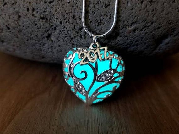 Graduation Gift Necklace, Class of 2018, Birthday 16th, 18th, 21st, 30th, 40th, 50th, 60th Anniversary Gift, Glow in the Dark Heart Sweet 16