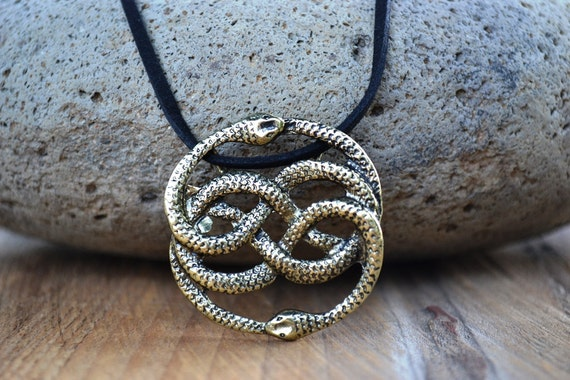 NeverEnding Story Antique Brass Necklace, Auryn Necklace, Leather, Choker Option, Never Ending Story Snake Pendant, Snake Circle, Men's