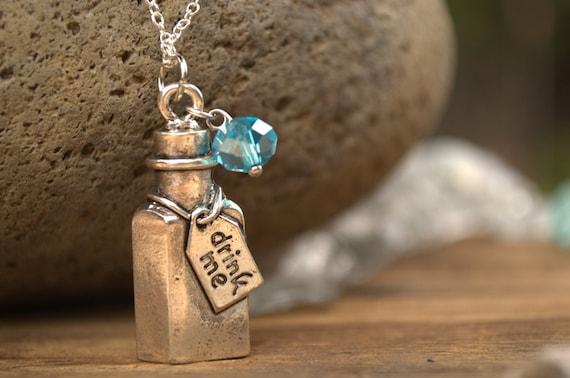 SALE Drink Me Necklace, Drink Me Alice in Wonderland Blue Potion Bottle Necklace, Alice Costume, Fairy Tale Necklace, Gift for Alice Fan