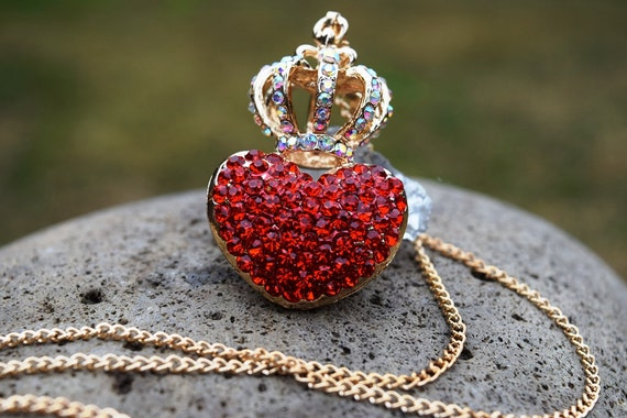 Evie Necklace, Red Heart with Gold Crown Necklace, Queen of Hearts, Pre Teen, Descendants Necklace, Pre Teen Gift, Unique Rhinestone Heart