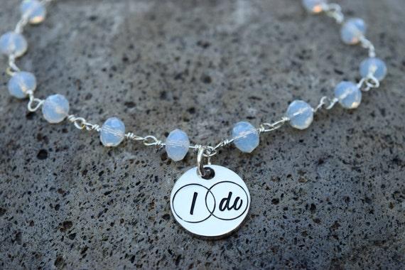 Bridal Anklet, Silver I Do Moonstone Glass Bead Ankle Bracelet, Wedding Anklet, I Do Jewelry, Bridal Jewelry, Bachelorette Anklet Bride Gift