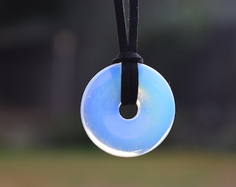Opalite Circle Necklace, Simulated Moonstone Crystal Necklace, Stone Donut Disc, Mens Unisex Necklace, Rainbow Crystal Disc Faux Leather