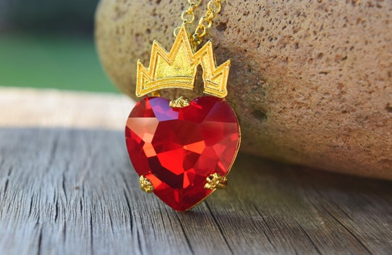 Evie Red Heart with Crown Necklace, Valentine's Day Gift, Descendants Fan, Queen of Hearts, Gift for Little Girl, Evie Costume Cosplay