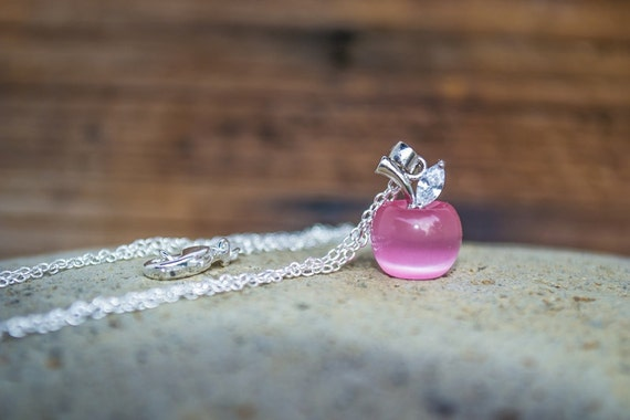 Glass Apple Necklace, Dainty Necklace, Snow White Jewelry, Teacher Gift / Present, Pink Apple Necklace, Country Wedding, Tiny Apple Necklace