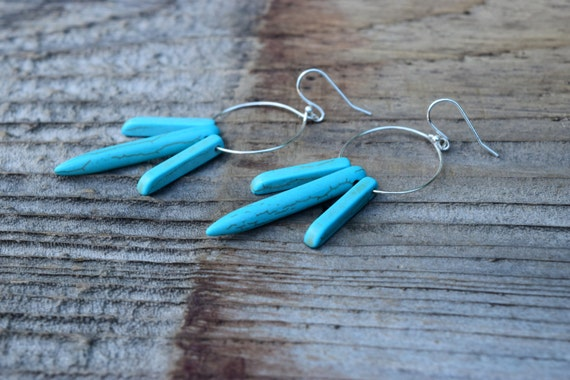 SALE Turquoise Spike Hoop Earrings, Bohemian Turquoise Earrings, Silver Turquoise Howlite Stone, Spring Boho Chic, Long Turquoise Earrings