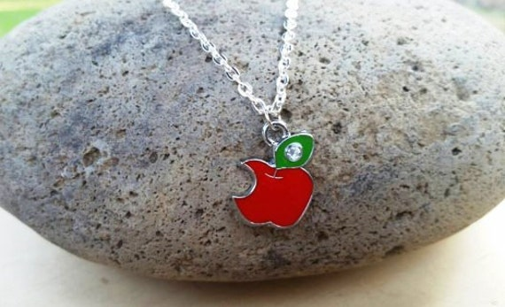 SALE, Apple Necklace, Teacher Gift Necklace, Apple Bite Necklace, Snow White Necklace, Evil Queen, Back to School, Apple Charm
