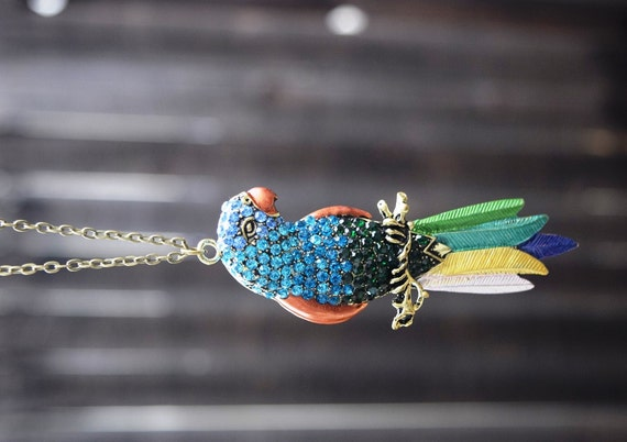 Statement Parrot Necklace, Tiki Room Necklace, Colorful Rhinestone Pave Parrot Necklace, Large Parrot, Bird Toucan Pendant, Long Necklace