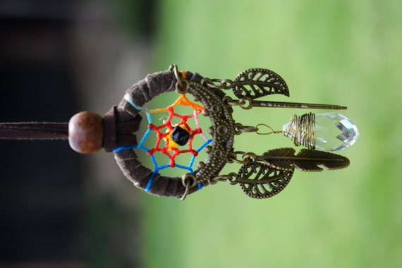 Dreamcatcher Crystal Necklace, Brown Faux Leather Dream Catcher, Burning Man Necklace, Native American Jewelry, Rear View Mirror Charm