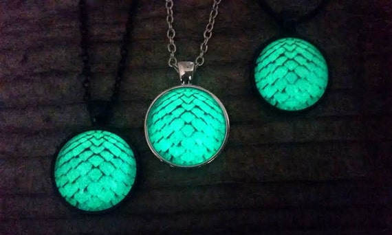 SALE Glowing Dragon Egg Necklace, Glow in the Dark Mermaid Scale, Green Dragon Scales Pendant, Choker Option, Mermaid Gift, Glowing Necklace