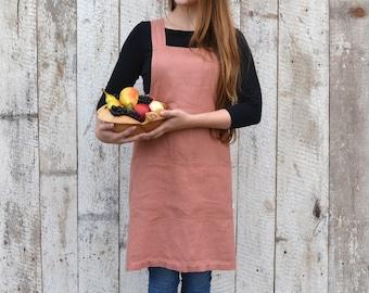 Pinafore linen apron / Japanese apron / Cross back apron / Stonewashed  linen / Kitchen apron / Natural gift / Pinafore dress