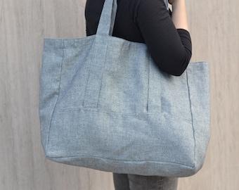 Linen Canvas Bag, Linen Tote Bag, Blue and White linen tote, Handbag, Travel gab, Shoulder bag, Two colors, Inside zipper pocket, Durable