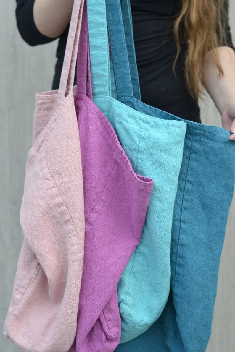 Stonewashed linen Eco friendly bag Market bag Work tote Several Size Linen Tote Bag in Multiple Colors Shoulder bag Travel bag