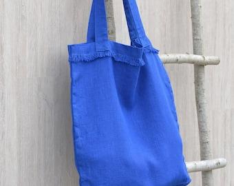 Linen Market Bag With a Fringe, Reusable Shopping bag, Shoulder tote, Stonewashed linen, Weekender bag, Travel bag, Yoga bag, Grocery bag