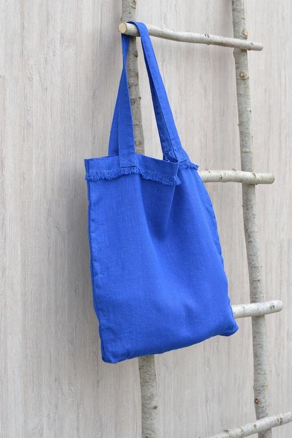 Baby blue linen tote bag Shopping bag  Beach tote  Eco friendly  Reusable bag  Shopper  Summer bag  Travel bag  Yoga tote