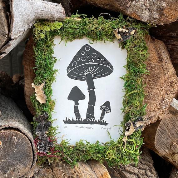 5x7 linocut print mushroom with custom moss frame