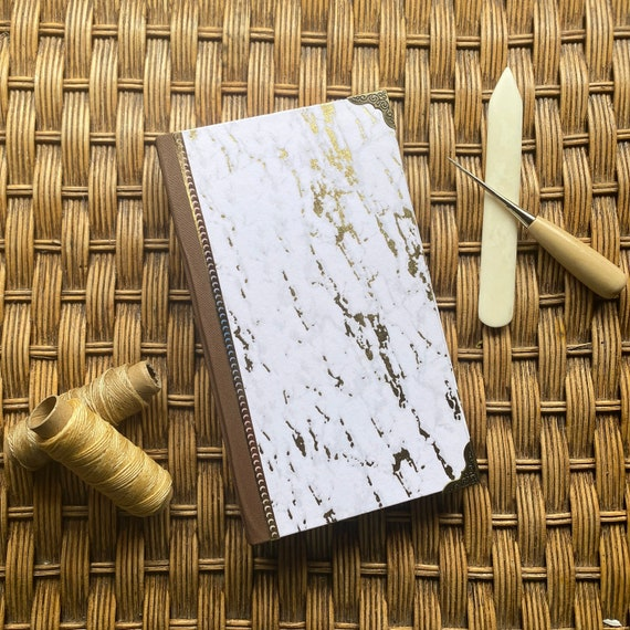 Handcrafted Gold Marble Journal