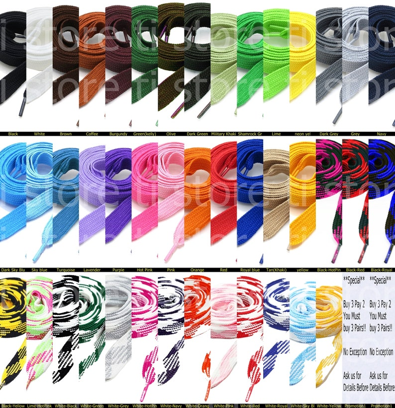 Chose Your Colors Boots and Shoes 2 Pairs Thick Fat Shoelaces for Sneakers