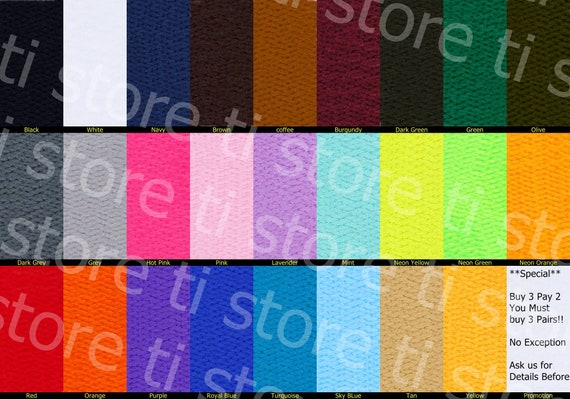 """Flat Athletic Shoelaces 5//16/"""" Width 36/"""" 45/"""" 54/"""" Lengths 15 Colors to Choose From"""