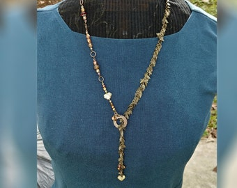 Lariat Necklace Autumn Leaf Chain