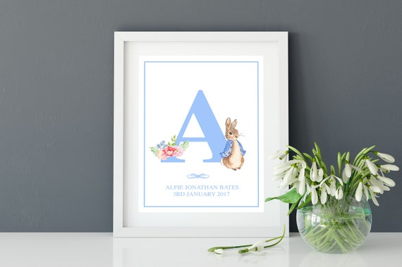 Personalised Letter Watercolour Print Peter Rabbit Christening Birthday New Baby
