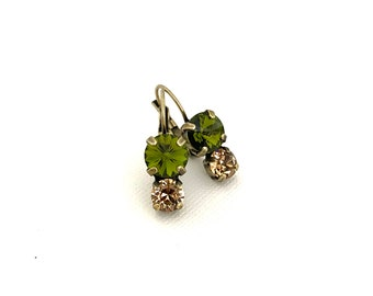 Fall Two Stone Drop Crystal Earrings ~ Camo Tones ~ 8mm & 6mm ~ Olivine ~ Antique Brass ~ Autumn Jewelry
