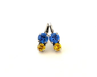 University of Pittsburgh Two Stone Crystal Drop Dangle Earrings ~ Antique Silver ~ Pitt Panthers ~ Blue and Yellow