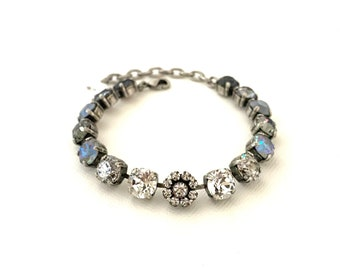 Fade to Gray 8mm Crystal Bracelet ~ Shades of Gray ~ Patina ~ AB Delite Tones ~ Classic Clear ~ Antique Silver ~ Flower Embellishment