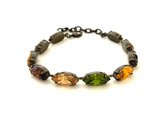 Fall Marquis Crystal Bracelet ~ Rustic Antique Brass ~ Earth Tones ~  One of a Kind ~ Rare Olive Green ~ Topaz and More ~