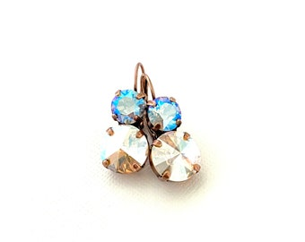 Seaside Shimmer 8mm and 12mm Drop Dangle Crystal Earrings ~ Antique Copper ~ Rare Silk Shimmer AB and Light Sapphire Shimmer