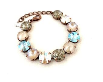Seaside Shimmer 12mm Crystal Bracelet ~ Antique Copper Setting ~ Rare Light Sapphire Shimmer and Silk Shimmer AB
