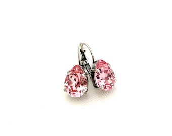 Crystal Rose Pink 14mm Teardrop Earrings ~ Antique Silver ~ October Birthstone ~ Breast Cancer Awareness ~ Pear Drop Earrings