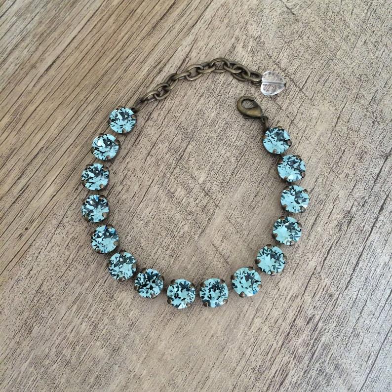 Swarovski Crystal 8mm Bracelet Indian Ocean Blue // Gifts for Her //  Antique Brass // Indian Sapphire