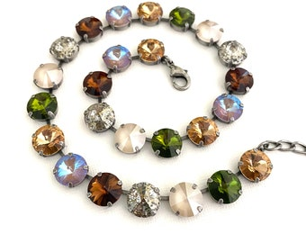 Toasty Fall 12mm Neutral Bracelet ~ Neutral Tones ~ Antique Silver ~ Autumn Jewelry ~ Patina, Olive Green, Cappuccino and more!