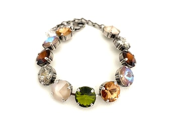 Toasty Fall 12mm Crystal Bracelet ~ Neutral Tones ~ Autumn Jewelry ~ Antique Silver ~ Patina, Olive Green, Cappuccino and more!