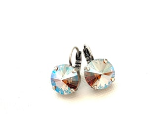 Shimmering Neutral Fall Tone Crystal Earrings  ~ 12mm Drop Dangle ~ Antique Silver Setting ~ Light Colorado Topaz Shimmer