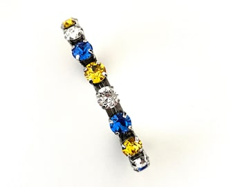 University of Pittsburgh 8mm Crystal Cuff ~ Pitt Panthers ~ Blue and Yellow Gold ~ Adjustable Cuff ~  Distressed Antique Silver