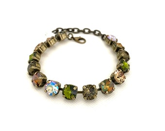 Fall Harvest 8mm Crystal Bracelet ~ Antique Brass ~ Camo Tones ~ Olive Green ~ Adjustable ~ Fall Autumn Jewelry