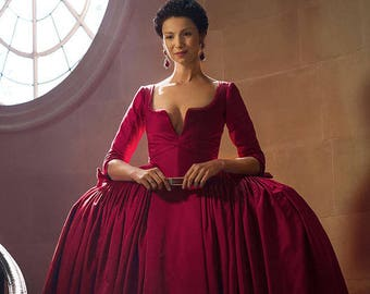 Outlander Claire red dress costume paris gown
