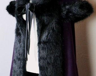 Victorian Fur Cloak Cape Witch Salem Gothic