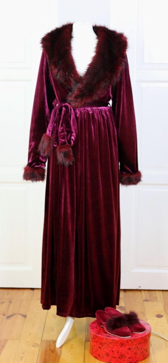 Wine Red Burlesque velvet fur dressing gown robe Scarlett | Etsy