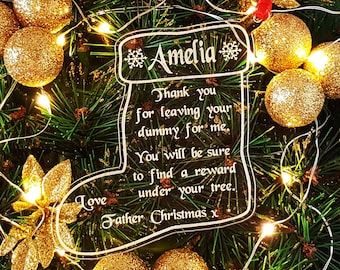 Personalised Leaving Dummy For Father Christmas Tree Decoration, Personalized Santa Stocking Keepsake, Snowflakes, Bauble Ornament, Gift Bag