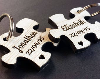 Personalised Jigsaw Wood Keyrings - Engraved Heart, Wedding Present, 5th Anniversary Gift, Valentines Day, Personalized Puzzle Piece, Pouch