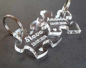 Personalised Jigsaw Acrylic Keyrings - Engraved Heart, Wedding Present, Anniversary Gift, Valentine's Day, Personalized Puzzle Piece, Pouch